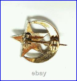 Old Antique Vintage Diamond 14k White Gold & Silver Crescent Star Pin Brooches