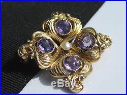 Ornate Antique Nouveau Art Deco era KOHN 10K Gold Amethyst Seed Pearl Brooch Pin