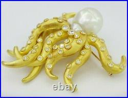 Oscar Heyman Rare Vintage 18K Yellow Gold 2ct Diamond & Pearl Octopus Brooch Pin