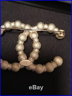 Pearl Crystal Gold Tone Large CC Logo Brooch Pin