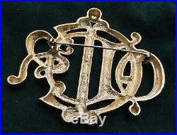 Perfect Vintage Large Gold Dior Brooch Pin