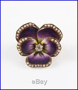 Petite 14k Gold Art Nouveau Enamel Diamond & Pearl Pansy Flower Brooch Pin