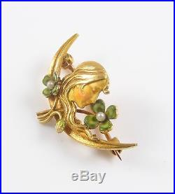 Petite 14k Gold Art Nouveau Krementz Enamel Clover Maiden Brooch Pin