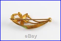Petite 14k Gold Art Nouveau Krementz Enamel & Diamond Pansy Flower Brooch Pin