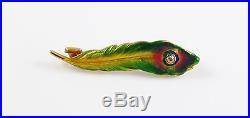 Petite 14k Gold Art Nouveau Krementz Enamel Diamond Peacock Feather Brooch Pin