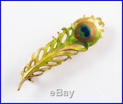 Petite 14k Gold Art Nouveau Krementz Enamel Peacock Feather Brooch Pin