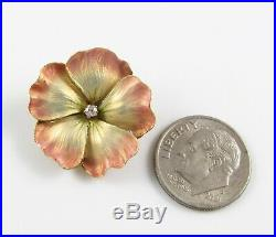 Petite Antique 14k Gold Art Nouveau Enamel & Diamond Pansy Flower Brooch Pin