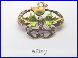 Petite Antique 14k Gold Art Nouveau Enamel Diamond & Pearl Watch Pin Brooch