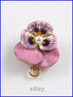 Petite Vintage 14k Gold Pink Enamel Pearl Pansy Floral Brooch Pin Pendant