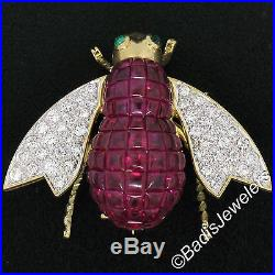QUALITY 18k Gold 7.28ctw Invisible Set Ruby & Diamond Emerald Bee Fly Brooch Pin