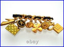 RARE Authentic Vintage Chanel pin brooch CC logo bag camellia dangle #pi2104