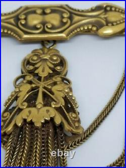 RARE Joseff of Hollywood Gold Tone Tossel Large Vintage Brooch Pin Signed