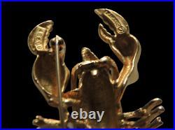RARE Marcel BOUCHER Lobster Brooch Pin Gold Plated Red Rhinestone Eyes Brooch
