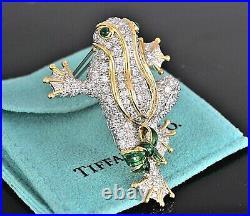 RARE Tiffany Co Platinum 18K Gold 5.57ct Diamond Enamel Emerald Frog Pin Brooch