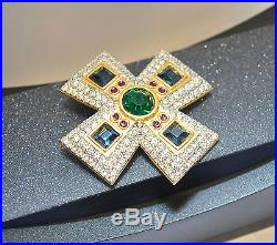 RARE Vintage SWAROVSKI Brooch Pin MALTESE Cross Crystal Rhinestone Gold Tone