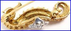 RARE Vintage Tiffany & Co 18K Gold Diamond Emerald Seahorse Pin Brooch Germany