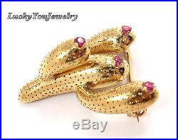 RARE Vintage Tiffany & Co 18K Yellow Gold Ruby Cactus Pin Brooch ITALY withbox