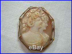 Rare Antique 14k Y/g Gold Carved Double Cameo Brooch Pin Pendant With Sisters
