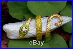Rare Antique Art Nouveau Krementz Pearl Diamond Snake Enamel 14k Gold Brooch Pin