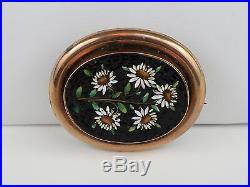 Rare Antique Victorian c1850 Italian Micro Mosaic Brooch Pin 9K Gold, Floral, 7