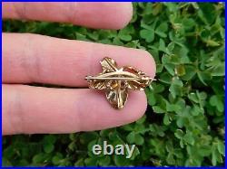 Rare Art Nouveau 14K gold Pearl Enamel Celtic Clover Shamrock Pin Brooch