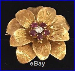9df34015f58 Beautiful Vintage Tiffany & Co. 18K Gold Ruby Diamond Flower Brooch Pin