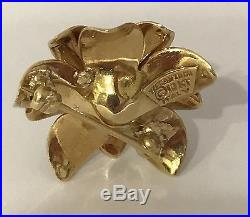 Rare! Beautiful Vintage Tiffany & Co. 18K Gold Ruby Diamond Flower Brooch Pin