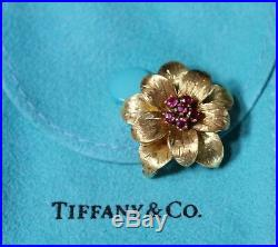 Rare! Beautiful Vintage Tiffany & Co. 18K Yellow Gold Ruby Flower Brooch Pin