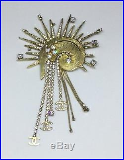Rare CHANEL 2001 Large Gold Feather & Starburst Designer Jewellery Brooch Pin