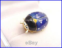 Rare Enameled Tiffany Italy Vintage Lady Bug 18k Yellow Gold Clip Pin Brooch