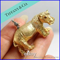 Rare Estate Tiffany & Co 18k & Diamond Hippo Bird Yellow Gold Animal Brooch Pin