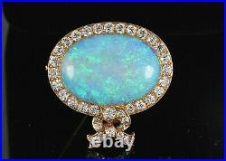 Rare Estate Vintage Tiffany & Co 18K Gold Fire Opal Old Miner Diamond Pin Brooch