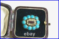 Rare Fine Antique Georgian Rose Gold Turquoise Garnet Seed Pearl Lace Pin Brooch