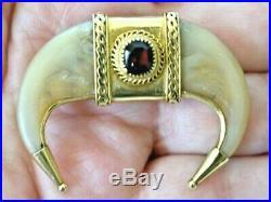 Rare Garnet Antique Victorian 9Ct Yellow Gold Raj Colonial Bear Claw Brooch Pin