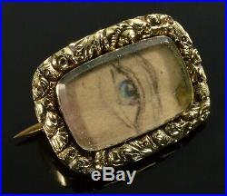 Rare Georgian 15k Gold Lovers Eye Brooch Pin C. 1800
