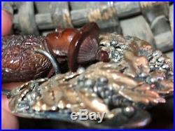 Rare HOBE 1940s Bandora Man Gold Vermeil on Sterling Brooch / Pin Signed