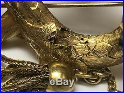 Rare Large Antique 14k Yellow Gold Enamel Peridot Snake Brooch Pin Animal 22g