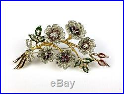 Rare Vintage Dujay 1940s Paste & Enamel Gold Plated Flower Brooch Pin Box