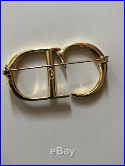 Rare Vtg Christian Dior By John Galliano Gold CD Logo Brooch Pin