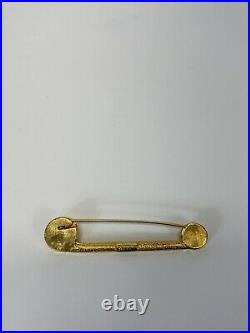 Rare Vtg Gianni Versace Gold Safety Pin Medusa Brooch