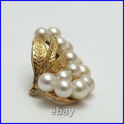 Retro Vintage 14K Gold Akoya Pearl Grapes Leaves Brooch Pin Pendant
