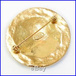 Rise-on CHANEL Gold Plated CC Logos Vintage Round Pin Brooch #18c