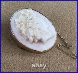 Rose Gold Cameo Brooch Victorian Antique 9ct 9 Carat Shell 1890s Pin Retro Old