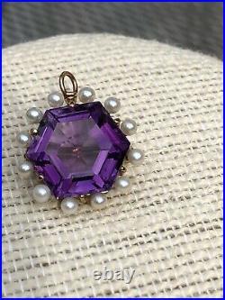 SALE! Vintage 14K Gold Hexagonal Cut Deep Amethyst/Seed Pearl Pendant/Pin/Brooch