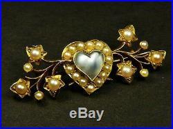 SUPERB ANTIQUE EDWARDIAN ENGLISH 15K GOLD MOONSTONE PEARL HEART BROOCH PIN c1900