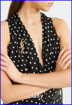 Saint Laurent YSL Opyum Crododile Gold-Brass brooch Pin