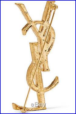 Saint Laurent Ysl Yves Saint Laurent Gold- Tone Brooch Pin New