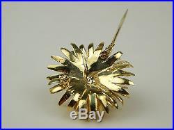 Sapphire & Diamond Floral Motif Brooch Pin 18 kt Yellow Gold sku A1174
