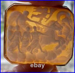 Scenic Cameo Antique Victorian 18K Yellow Gold Hand Carved Shell Brooch Pin