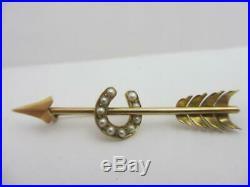 Seed Pearl Horseshoe Arrow 18k Gold Brooch Pin Antique Victorian c1880. Tbj07119